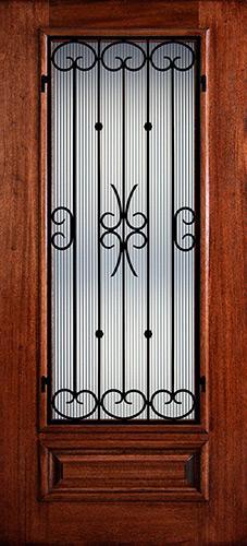 Hamilton 3/4 Lite Grille Mahogany Wood Door Slab #7471