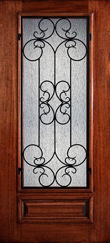 Hamilton 3/4 Lite Grille Mahogany Wood Door Slab #7474