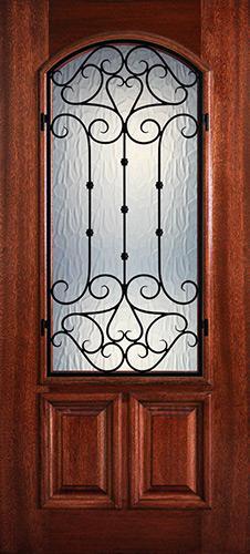 Hamilton 2/3 Arch Lite Grille Mahogany Wood Door Slab #7481
