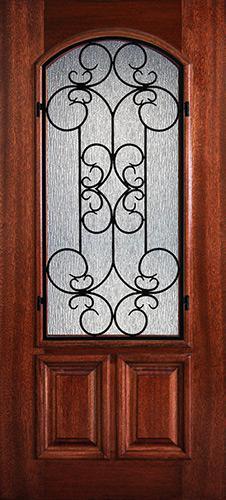 Hamilton 2/3 Arch Lite Grille Mahogany Wood Door Slab #7483