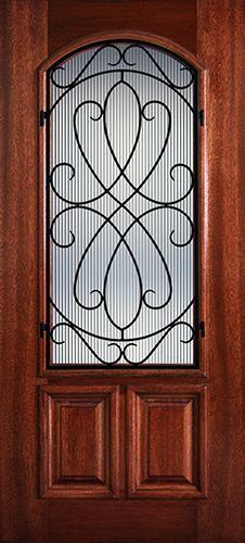 Hamilton 2/3 Arch Lite Grille Mahogany Wood Door Slab #7484