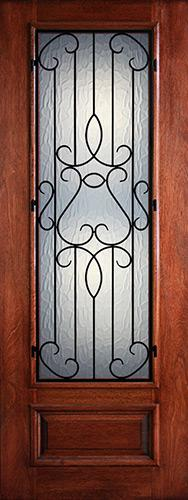 "Hamilton 8'0"" Tall 3/4 Lite Grille Mahogany Wood Door Slab #7491"
