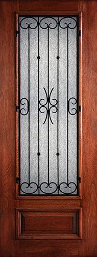 "Hamilton 8'0"" Tall 3/4 Lite Grille Mahogany Wood Door Slab #7492"