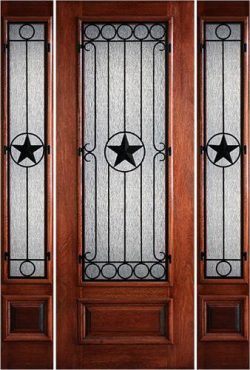 "Hamilton Star 8'0"" Tall 3/4 Lite Grille Mahogany Prehung Door Unit with Sidelites #7494"