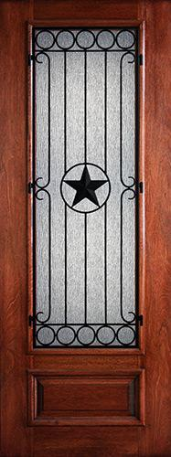 "Hamilton 8'0"" Tall 3/4 Lite Star Grille Mahogany Wood Door Slab #7494"