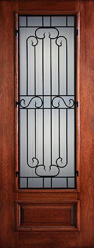 "Hamilton 8'0"" Tall 3/4 Lite Grille Mahogany Wood Door Slab #7501"