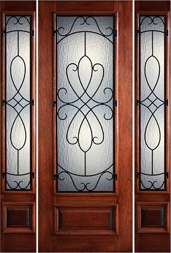 "Hamilton 8'0"" Tall 3/4 Lite Grille Mahogany Prehung Door Unit with Sidelites #7503"