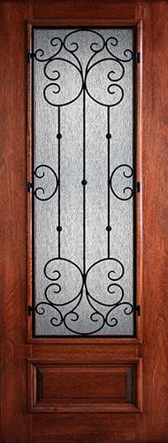 "Hamilton 8'0"" Tall 3/4 Lite Grille Mahogany Wood Door Slab #7512"