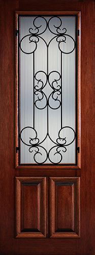 "Hamilton 8'0"" Tall 2/3 Lite Grille Mahogany Wood Door Slab #7543"