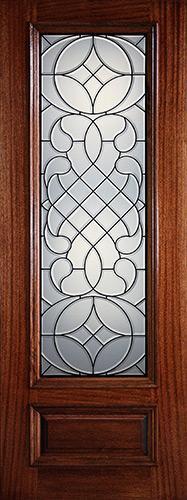 "Hamilton 8'0"" Tall 3/4 Lite Mahogany Wood Door Slab #8-7104"