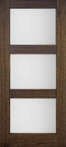 Modern 3-Lite Mahogany Wood Door Slab