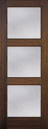"8'0"" Tall Modern 3-Lite Mahogany Wood Door Slab"