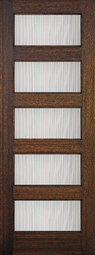 "8'0"" Tall Modern 5-Lite Mahogany Wood Door Slab"