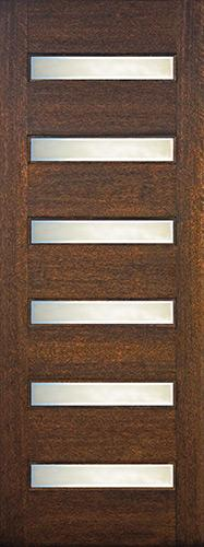 "8'0"" Tall Modern 6-Lite Mahogany Wood Door Slab"