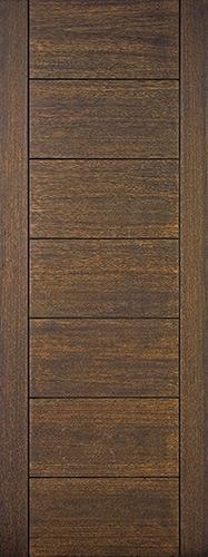 """8'0"""" Tall Modern 7 Panel Mahogany Wood Door Slab"""