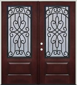 Pre-finished Mahogany Fiberglass Prehung Double Door Unit with Iron Grille #62