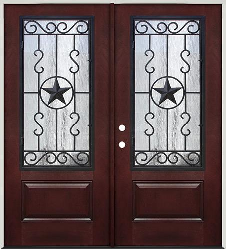 Pre-finished Mahogany Fiberglass Prehung Double Door Unit with Star Iron Grille #75