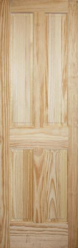 "8'0"" Tall 4-Panel Pine Interior Wood Door Slab"
