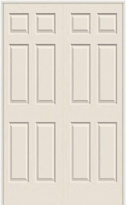 "6'8"" 6-Panel Textured Molded Interior Prehung Double Door Unit"