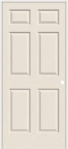 "6'8"" 6-Panel Smooth Molded Interior Prehung Door Unit"