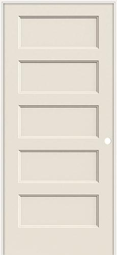 "6'8"" Modern 5-Panel Flat Smooth Molded Interior Prehung Door Unit"