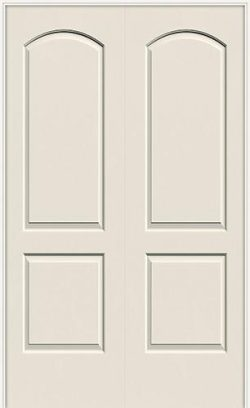 "6'8"" 2-Panel Arch Smooth Molded Interior Prehung Double Door Unit"