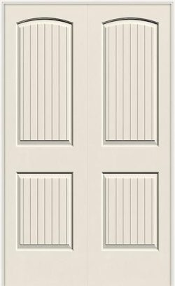 "6'8"" 2-Panel Arch V-Groove Smooth Molded Interior Prehung Double Door Unit"