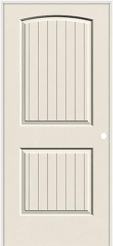 "6'8"" 2-Panel Arch V-Groove Smooth Molded Interior Prehung Door Unit"