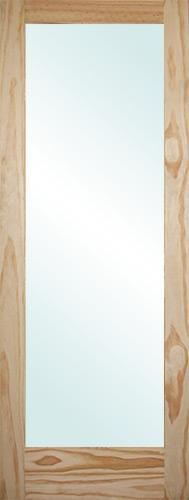 "6'8"" Tall Full Lite Pine Interior Wood Door Slab"