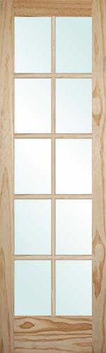 "6'8"" Tall 10-Lite Pine Interior Wood Door Slab"