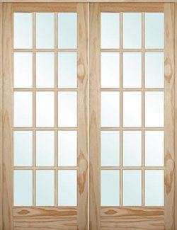 "5'0"": 6'8"" Tall 15-Lite Pine Interior Prehung Double Wood Door Unit"