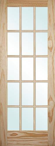"6'8"" Tall 15-Lite Pine Interior Wood Door Slab"