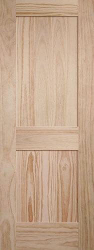 "6'8"" Tall 2-Panel Shaker Pine Interior Wood Door Slab"