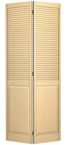 "6'8"" Tall Traditional Louver Panel Pine Interior Wood Bifold Doors"