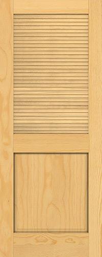 "6'8"" Tall Traditional Louver Panel Pine Interior Wood Door Slab"