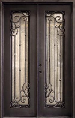 "62"" x 97"" Athenian Iron Prehung Double Door Unit"