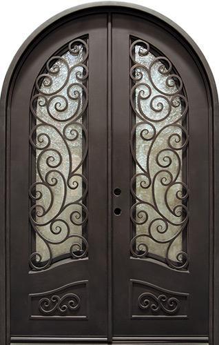 "62"" x 97"" Grecian Radius Top Iron Prehung Double Door Unit"