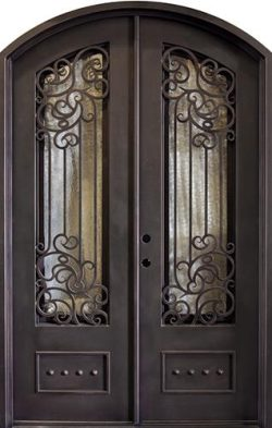 "62"" x 97"" Alexandria Arch Top Iron Prehung Double Door Unit"