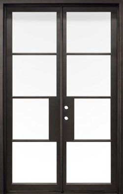 "62"" x 97"" Modern 4-Lite Iron Prehung Double Door Unit"