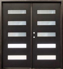 "74"" x 81"" Modern 5-Lite Iron Prehung Double Door Unit"