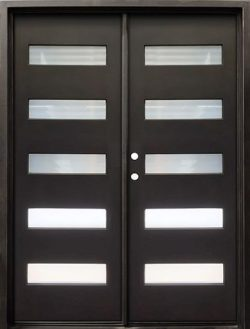 "62"" x 81"" Modern 5-Lite Iron Prehung Double Door Unit"