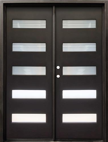 "62"" x 81"" Modern 5-Lite Iron Prehung Double Door Unit"