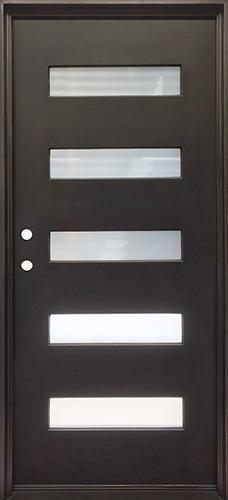 """37"""" x 81"""" Modern 5-Lite Iron Prehung Door Unit"""