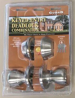 Guard Keyed Entry Deadlock Combination Doorknob Set Nickel