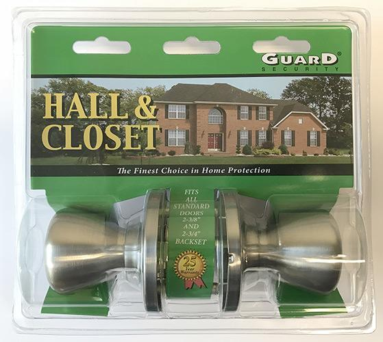Guard Interior Doorknob Set Hall & Closet Nickel