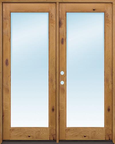 """Exterior 6'8"""" 1-Lite Low-E Knotty Alder Wood Door French Unit"""