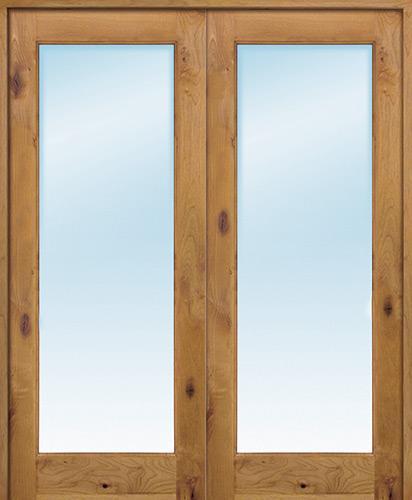 """Interior 6'8"""" 1-Lite Knotty Alder Wood Door French Unit"""