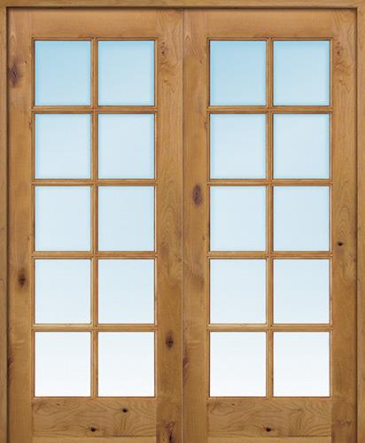 "Interior 6'8"" 10-Lite TDL Knotty Alder Wood Door French Unit"