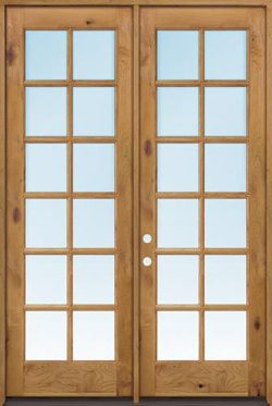 "Exterior 8'0"" 12-Lite TDL Low-E Knotty Alder Wood Door French Unit"
