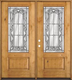 3/4 Lite Knotty Alder Wood Double Door Unit #272